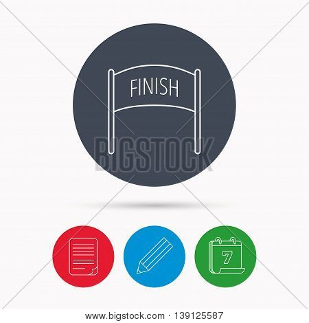 Finish banner icon. Marathon checkpoint sign. Calendar, pencil or edit and document file signs. Vector