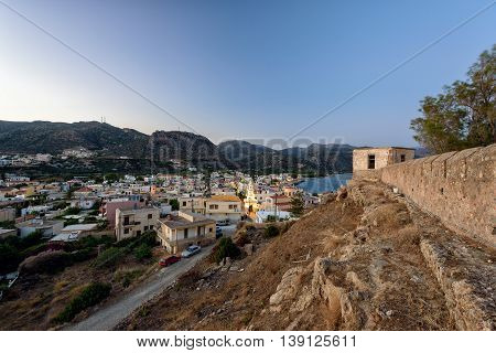 Evening panorama of Paleochora town, located in western part of Crete island, Greece