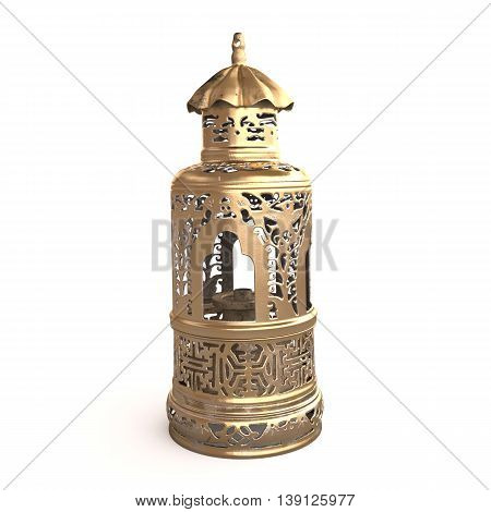 Front view of the Chinese opium lamp. 3D rendering