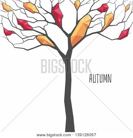 Abstract tree with polygonal foliage autumn vector illustration