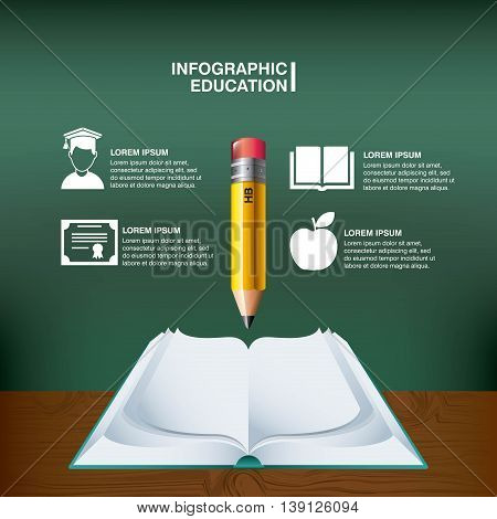 Infographic education concept represented by pencil book  brain apple diploma student icon. Colorfull and flat illustration.