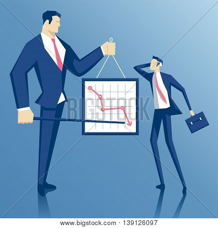 Angry boss and employee boss blames employee failure director chastises manager for the fall in sales chief scolds worker