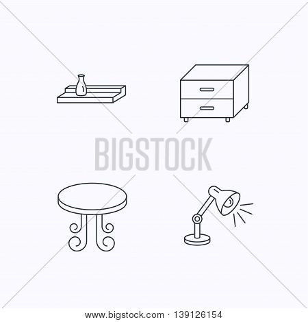 Vintage table, lamp and nightstand icons. Wall shelf linear sign. Flat linear icons on white background. Vector