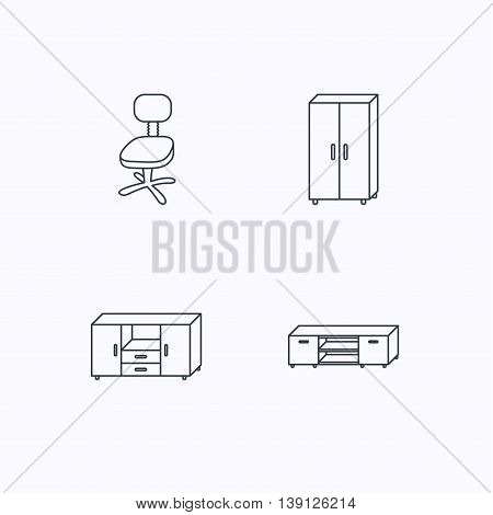 Cupboard, TV table and office chair icons. Chest of drawers linear sign. Flat linear icons on white background. Vector