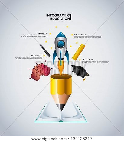 Infographic education concept represented by book brain cap pen rocket pencil rule icon. Colorfull and flat illustration.