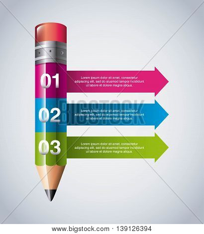 Infographic education concept represented by pencil icon. Colorfull and flat illustration.