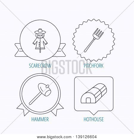 Hammer, hothouse and scarecrow icons. Pitchfork linear sign. Award medal, star label and speech bubble designs. Vector