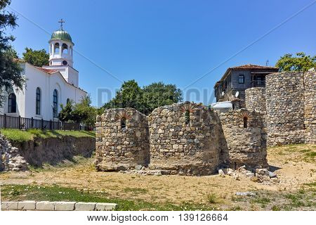 Church of St. Cyril and St. Methodius and ancient ruins, Sozopol town, Bulgaria