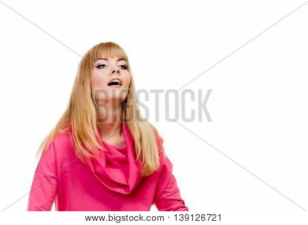 Blonde Fashionable Woman In Pink Blouse