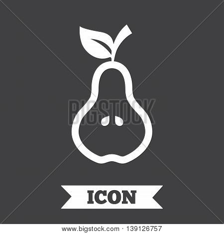 Pear with leaf sign icon. Fruit with seeds symbol. Graphic design element. Flat pear symbol on dark background. Vector