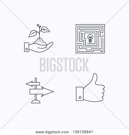 Save nature, thumb up and direction icons. Problem challenge, like linear signs. Flat linear icons on white background. Vector