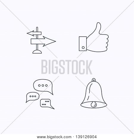 Direction, thumb up and conversation icons. Bell linear sign. Flat linear icons on white background. Vector
