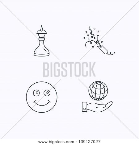 Save planet, slapstick and strategy icons. Smile linear sign. Flat linear icons on white background. Vector