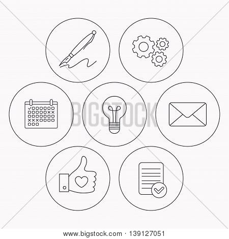Mail, heart and lightbulb icons. Pen linear sign. Check file, calendar and cogwheel icons. Vector