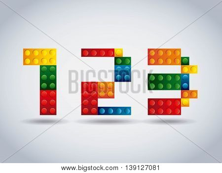 Numbers concept represented by geometric puzzle icon. Colorfull and flat illustration.