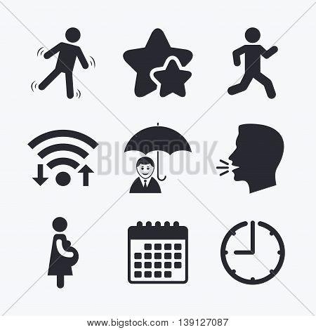 Businessman with umbrella icon. Human running symbol. Man love Woman or Lovers sign. Women Pregnancy. Life insurance. Wifi internet, favorite stars, calendar and clock. Talking head. Vector