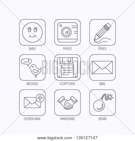 Photo camera, pencil and handshake icons. Inbox e-mail, message speech bubble and smile linear signs. Flat linear icons in squares on white background. Vector