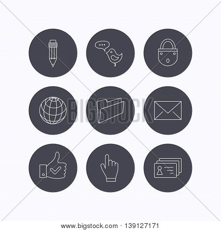 Pencil, press hand and world globe icons. Bird message, social network and mail linear signs. Contacts, like and folder icons. Flat icons in circle buttons on white background. Vector