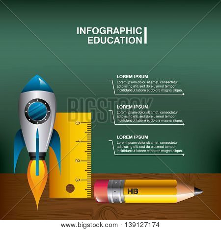 Infographic education concept represented by rocket pencil rule icon. Colorfull and flat illustration.