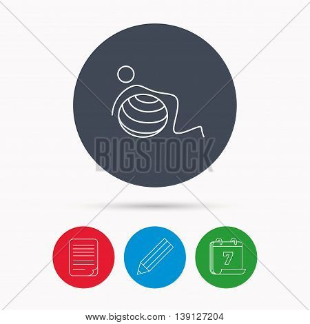 Gymnastic ball icon. Pilates fitness sign. Sport workout symbol. Calendar, pencil or edit and document file signs. Vector