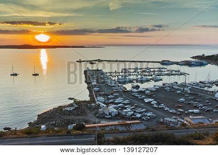 Sunset Panorama of the port of Sozopol, Burgas Region, Bulgaria