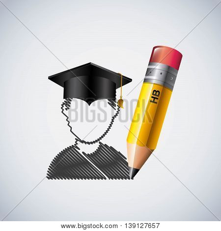 Study and instrument concept represented by pencil and graduation cap and student icon. Colorfull and flat illustration.