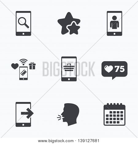 Phone icons. Smartphone video call sign. Search, online shopping symbols. Outcoming call. Flat talking head, calendar icons. Stars, like counter icons. Vector