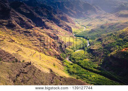 Landscape Detail Of Waime Canyon And River At Sunrise, Kauai