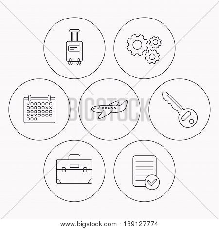 Suitcase on wheels, key and airplane icons. Briefcase linear sign. Check file, calendar and cogwheel icons. Vector