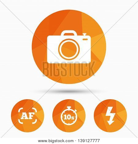 Photo camera icon. Flash light and autofocus AF symbols. Stopwatch timer 10 seconds sign. Triangular low poly buttons with shadow. Vector