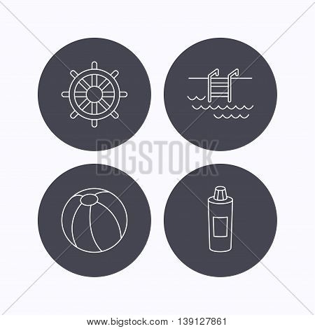 Shampoo, swimming pool and ball icons. Steering wheel linear sign. Flat icons in circle buttons on white background. Vector