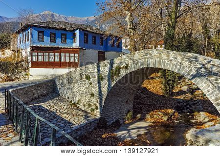 Stone bridge over small river in Moushteni near Kavala, East Macedonia and Thrace, Greece