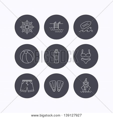 Surfboard, swimming pool and trunks icons. Beach ball, lingerie and shorts linear signs. Flippers, cruise ship and shampoo icons. Flat icons in circle buttons on white background. Vector