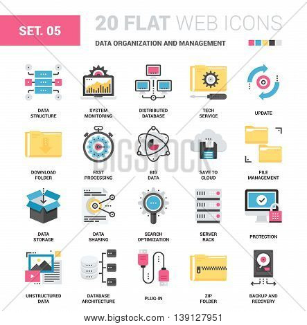 Vector set of data organization and management flat web icons. Each icon with adjustable strokes neatly designed on pixel perfect 64X64 size grid. Fully editable and easy to use.