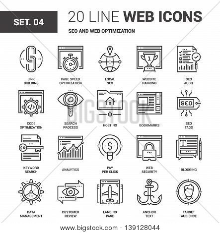 Vector set of SEO and web optimization line web icons. Each icon with adjustable strokes neatly designed on pixel perfect 64X64 size grid. Fully editable and easy to use.