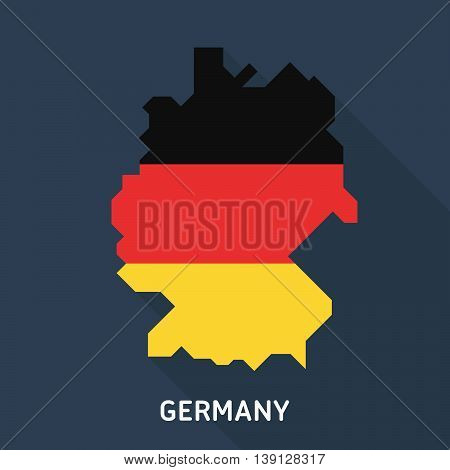 Map and flag of Germany isolated on blue background with long shadow. European country. Vector template for website, design, cover, infographics. Graph illustration.