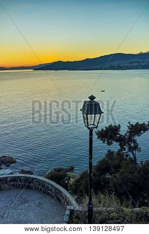 Sunset Panorama in Kavala, East Macedonia and Thrace, Greece