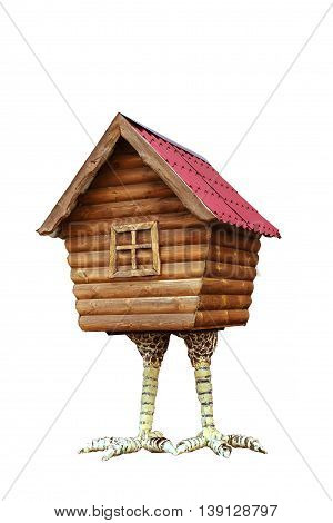 Hut on chicken legs on a white background