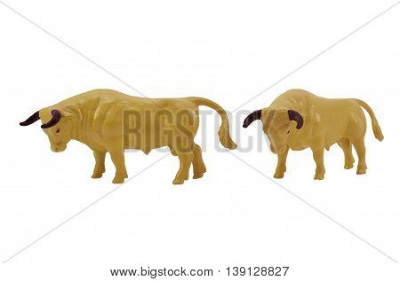 Isolated bull toy profile and angle view photo.