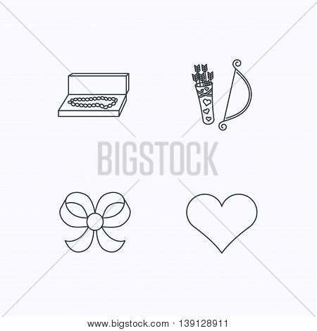 Love heart, jewelry and bow-knot icons. Valentine amour arrows linear sign. Flat linear icons on white background. Vector