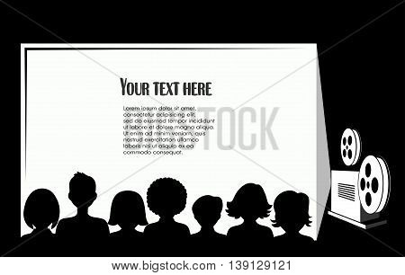 On the image is presented silhouettes of people in the cinema