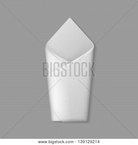 Vector White Folded Envelope Napkin Top View Isolated on Background. Table Setting