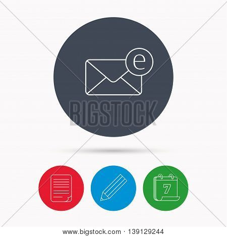 Envelope mail icon. Email message sign. Internet letter symbol. Calendar, pencil or edit and document file signs. Vector