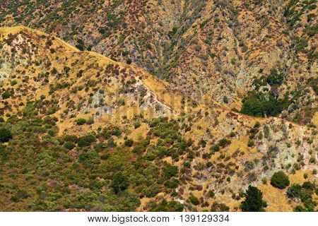 Arid and dry hills covered in chaparral plants taken in the San Gabriel Mountains, CA