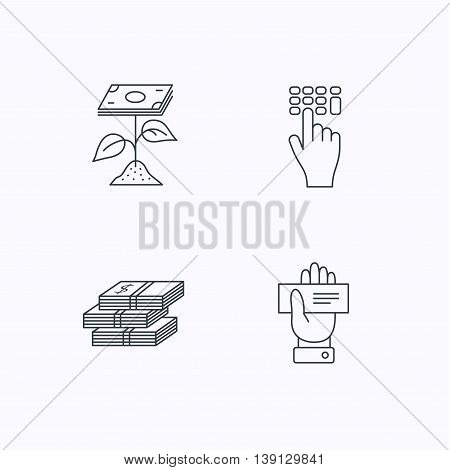 Cash money, cheque and profit icons. Enter code linear sign. Flat linear icons on white background. Vector