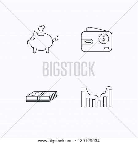 Piggy bank, cash money and dynamics chart icons. USD wallet linear sign. Flat linear icons on white background. Vector