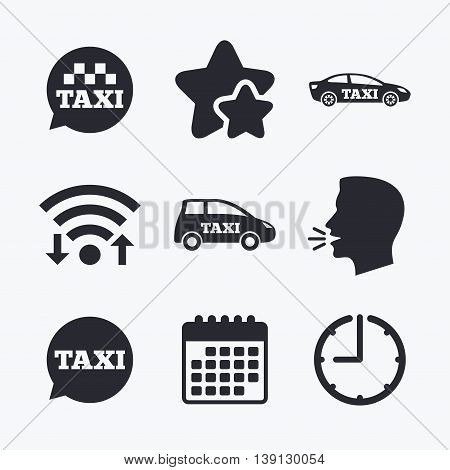 Public transport icons. Taxi speech bubble signs. Car transport symbol. Wifi internet, favorite stars, calendar and clock. Talking head. Vector
