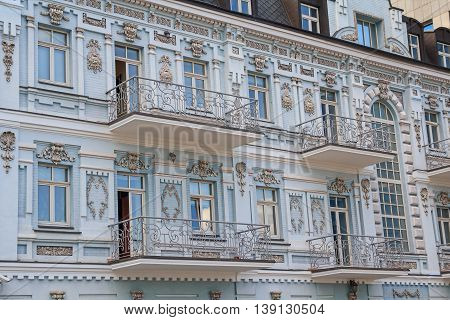 Facade of a historic building in the classical style. Kiev Ukraine