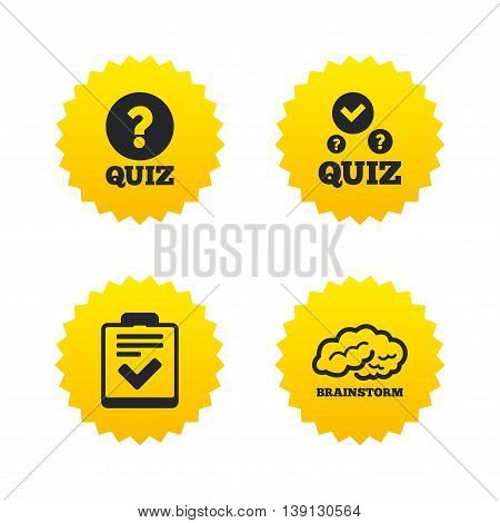 Quiz icons. Human brain think. Checklist with check mark symbol. Survey poll or questionnaire feedback form sign. Yellow stars labels with flat icons. Vector
