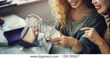 Women Friends Talking Fashion Shopping Concept